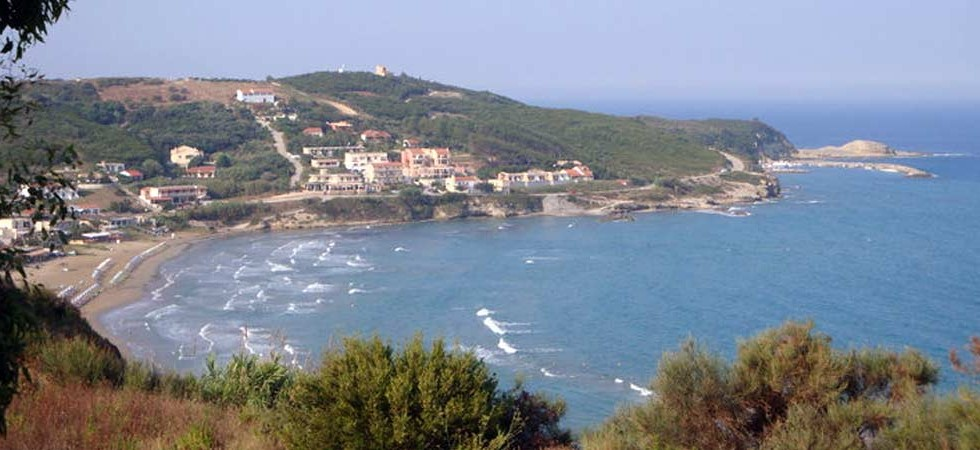 The village of Agios Stefanos (San Stefanos) in Corfu