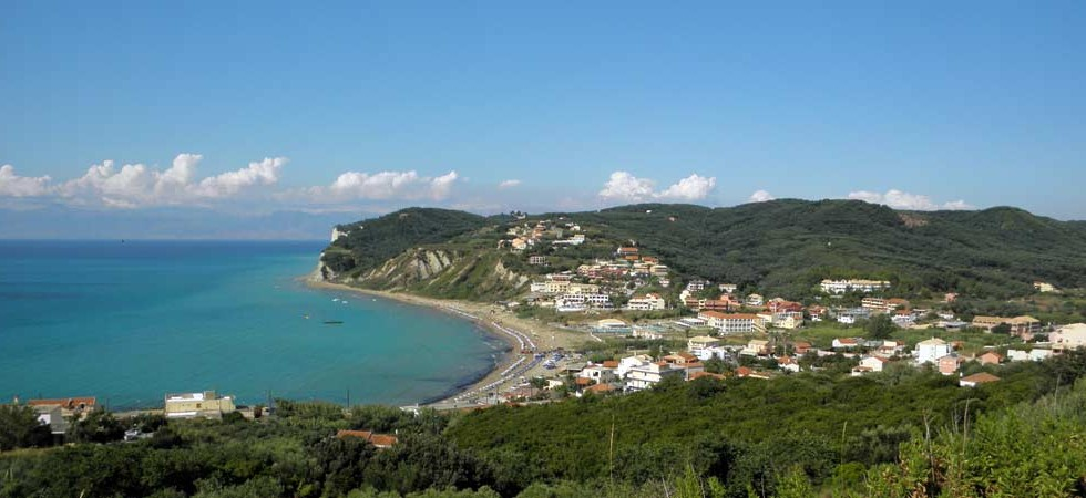 The view from the top of the hill on the road to Arillas